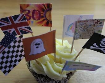 12 Cupcake Flags, Sandwich Picks, Various Designs