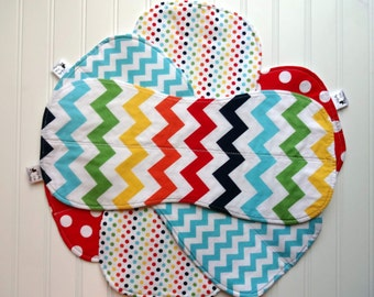 Boutique Burp Cloths - Baby Burp Rags - Riley Blake Rainbow of Bright Colors Chevron and Dots - Gender Neutral Burp Cloths
