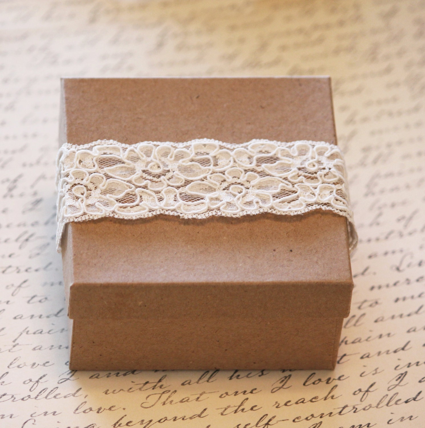 Lace Wedding Favor Box Gift Box Kraft Boxes 10 Jewelry Box Lace Personalized Gift Box Set