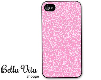 Cat iPhone 4 Case -  Cats iPhone 4 Case Cute Pattern of Cats in Pink and White - iPhone 4 Cover I4C