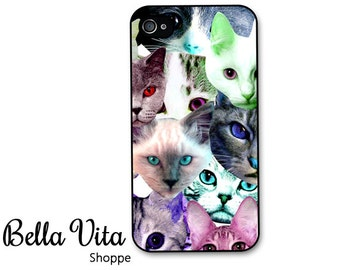 Cat iPhone 4 Case -  Cat Faces Pink Blue Green iPhone 4 Cover, iPhone 4 Covers Rubber or Plastic Hard Cover I4C