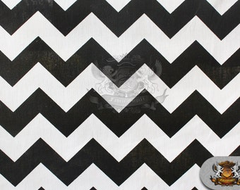 "Polycotton Printed Fabric Large Chevron BLACK WHITE / 60"" Wide / Sold by the yard"