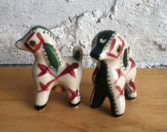 Hand Painted Porcelain Japanese Dog Salt & Pepper Shakers