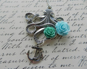 Antiqued Silver Steampunk Octopus Necklace with Pastel Roses and Anchor Charm-Rockabilly Pin Up Sailor Jerry The Kraken Victorian Kitsch