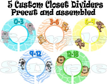 Custom Closet dividers set of 5 PRECUT assembled Baby Boy Jungle Hangers Rod Dividers Size Dividers safari dividers Baby Organizer