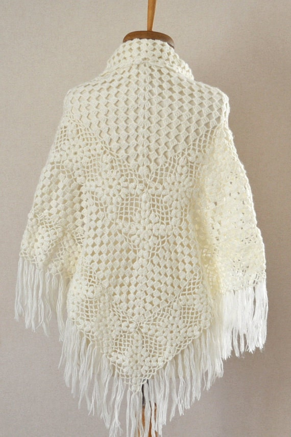 Knit Shawl Ivory mohair Shawl Ivory Shawl by DokumaAccessories