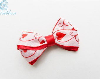 red heart hair bow clip - white and red ribbon hair bow