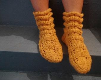 women socks, orange socks wool socks women knit socks orange socks knitt socks Knitted Ruffled Orange Night Socks Women