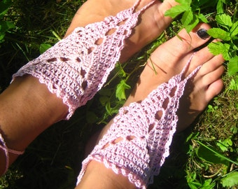 Barefoot Sandals Light Pink Crocheted Handmade Nude Shoes women sandals bridal shoes wedding sandals cotton sandals pink barefoot