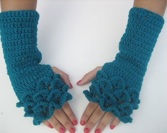 sale! Dragon scale fingerless crochet fingerless  Gloves Arm Warmers Electric Blue Neutral Accessory,winter accessory, woman accesories
