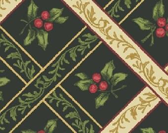 SUPER CLEARANCE! One Yard My True Love Gave to Me - Ribbon Trellis in Dark Green Cotton Quilt Fabric - Benartex Fabrics (W376)