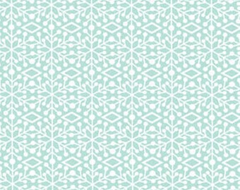 "28"" REMNANT Ho-Ho-Ho Let It Snow - Frosted Window in Aqua - Christmas Holiday Cotton Fabric Line By Nancy Halvorsen for Benartex (W966)"