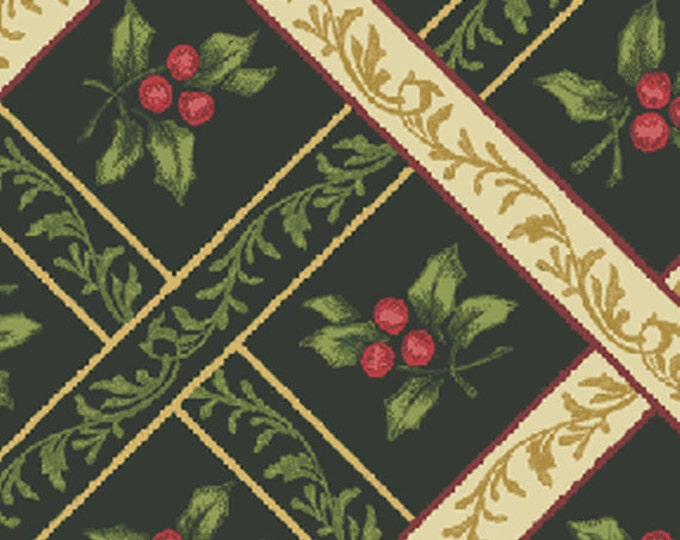 SUPER CLEARANCE! One Yard My True Love Gave to Me - Ribbon Trellis in Dark Green Cotton Quilt Fabric - Benartex Fabrics (W376)