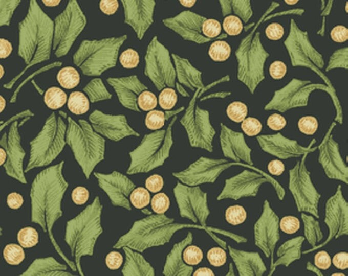 SUPER CLEARANCE! One Yard My True Love Gave to Me - Holly in Dark Green Cotton Quilt Fabric - Erin McAllister - Benartex Fabrics (W378)