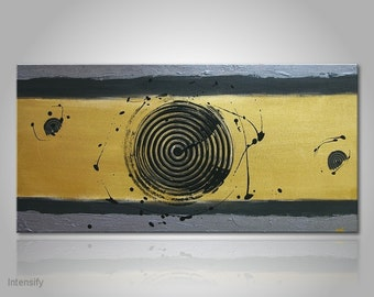 """Textured unique fine art painting with gold grey and black colors: """"Intensify"""" - canvas art with acrylics 32x16 inches, on wooden frame"""