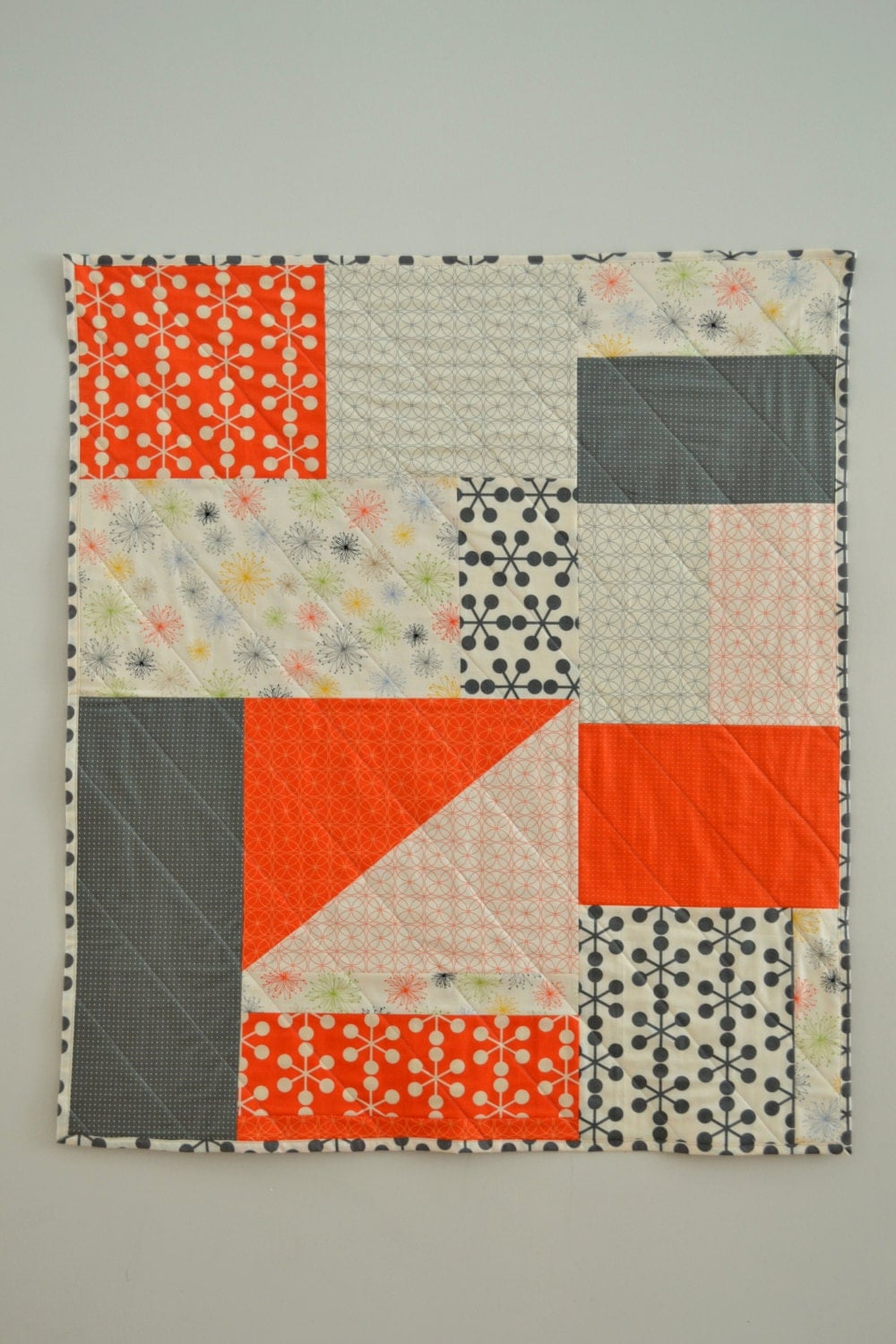 orange amp grey quilt modern baby quilt