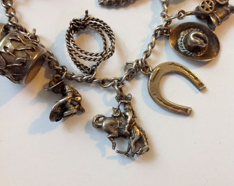 Vintage Cowgirl Charm Bracelet Silver 40's