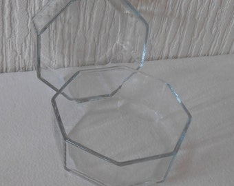 Pair Arcoroc Pyrex France Hexacon (novoctime) clear glass dishes 4.5 inch