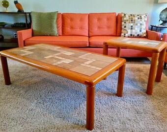 Mid-Century Danish Modern Tue Poulsen for Haslev Teak Tile Tables (Set) - No Shipping