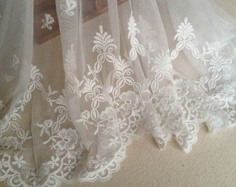 White Bridal Lace Trim Embroidered Mesh Fabric Lace Floral Lace 14.96 inches Wide Lace By The Yard