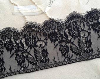 Chantilly Lace Trim French Black Eyelash Lace Trim For Bridal, Weddings, Lace Caps, Costume