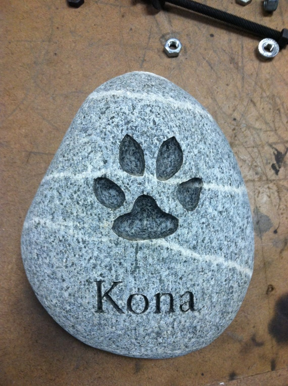 Stone Prints River Rock - Custom pet's paw print engraved in stone (100% hand made)