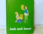 Jack & Janet for Meaning 4th Edition Vintage 1966 Reader- Homeschool -Hardback Educational Book- Green cover with Fun Retro Artwork