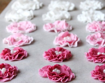 Flower cake or cupcake topper, edible wedding cake decoration, fondant flowers, sugar flowers, cupcake decoration x 10