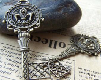 10 pcs of Antique Bronze Filigree Skeleton Key Charms 25x57mm A197