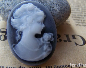 Lady Cameo Cabochon Resin Black Size 22x30mm Set of 10 pcs A4051