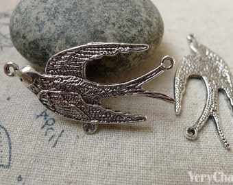 Three Loops  Bird Connector Antique Silver Swallow Dove Charms  20x39mm  Set of 10 pcs A6190
