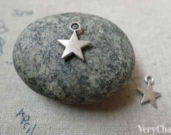 Silver Star Charms Blank Tibetan Silver Charms  10mm Set of 50 pcs A6332