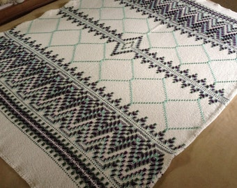Swedish Weaving Huck Weaving Monks Cloth Lap Throw / Blanket / Table Cloth / Handmade Lap Throw / Swedish Weaved Throw