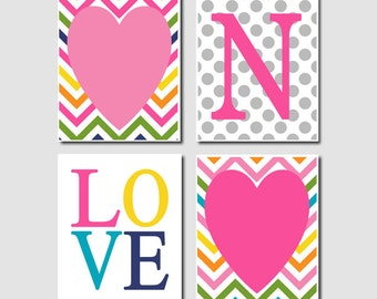 Teen girl wall art initial pink navy chevron baby girl for Wall art for teenage girl bedrooms