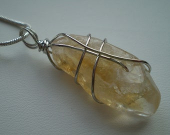 Citrine Nugget (Natural) Wire Wrapped Silver Plated Necklace - 18 Inch