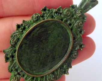 Verdigris Green Frame Pendant Patina Charms,Findings