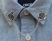 Silver Rose Flower Collar Chain/ Collar Clip