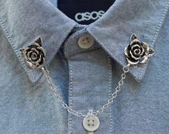 Silver Rose Flower Collar Chain/ Collar Clip