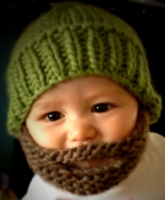 Hand Knitted Brown Beard Green Beanie size 3 to 6 months.