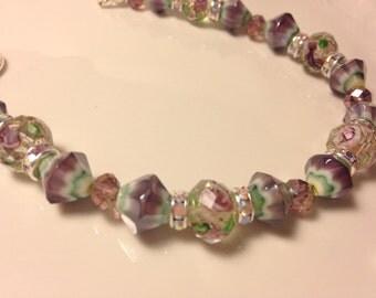 Green, Purple and Silver Beaded Bracelet