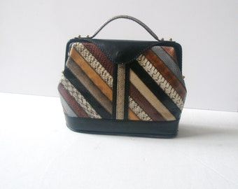 Brown bag,Multi-Color Leather Patchwork  purse,multicolor Purse