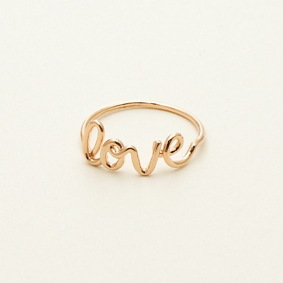 Love Script Ring in Rose Gold / R019RG