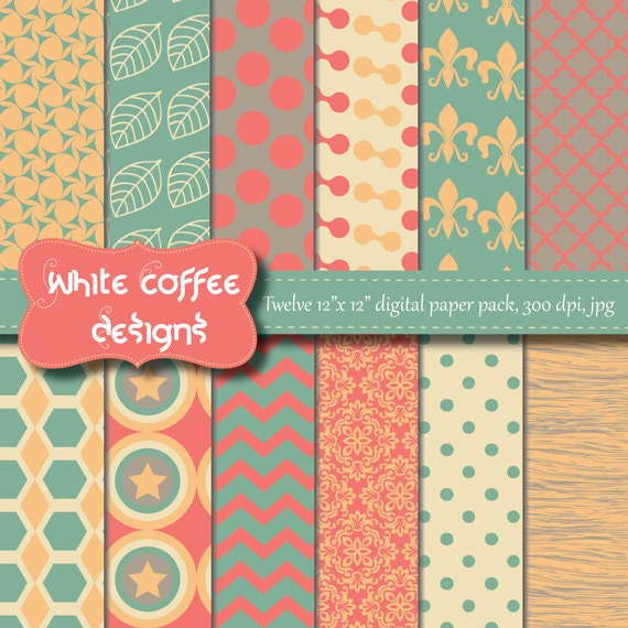 Scrapbook papel papel para imprimir Digital por WhiteCoffeeDesigns