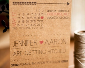Kraft paper save the date fun, modern and quirky with a calendar