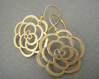 Gold Flower Dangle Earrings, Vermeil Wires, Gold Earrings