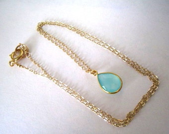 Aqua Necklace, Aqua Chalcedony Necklace, Aqua Faceted Teardrop Gold Filled Chain, Bridesmaids Jewlery