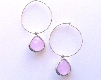 PINK Silver Sterling Hoop Earring, Pink Dangle Earrings, Modern, Everyday,