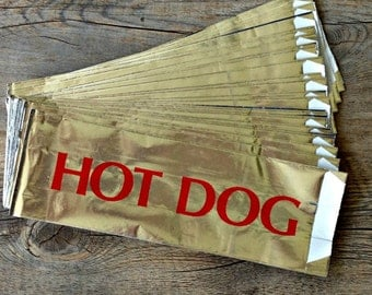 75 Printed Foil Hot Dog Bags, Cookout, Picnic, Tailgating, Carnival Party Supplies
