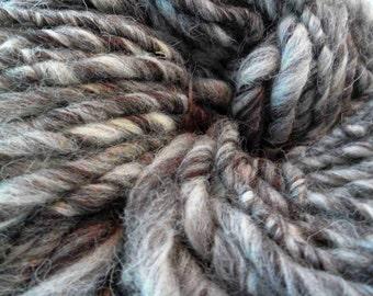 Handspun yarn, super bulky yarn, Jacob humbug yarn, wool yarn, British wool yarn, super chunky yarn, hand spun yarn, chunky wool yarn  100g