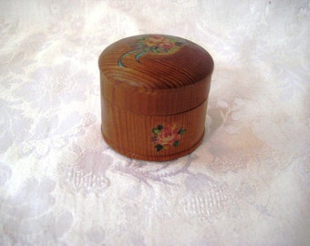 Tiny wood box with rose stencil, ring box, keepsake box, trinket box, 908
